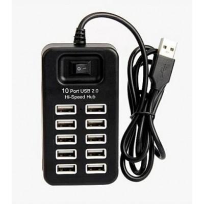 USB Хаб на 10 портов USB 2.0 HUB P-1603 Чёрный