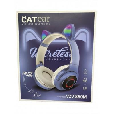 Беспроводные наушники с кошачьими ушками и RGB подсветкой CATear VZV-850M LED Голубые с серым