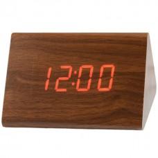 Часы VST 864 коричневое дерево красная подсветка