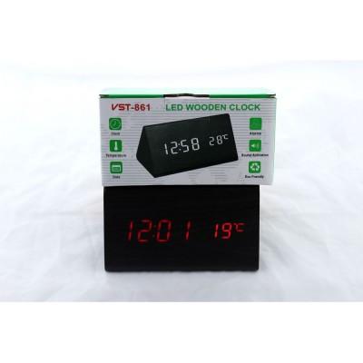 Деревянные Настольные часы VST-861 светодиодные (Красная подсветка) Чёрные