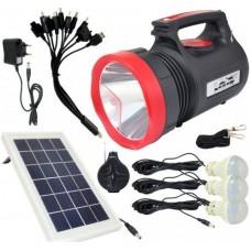 Фонарь ручной светодиодный Yajia YJ-1908T с солнечной панелью и USB Power Bank