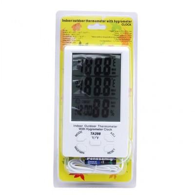 Метеостанция Термометр Гигрометр TA298 с часами и выносным датчиком