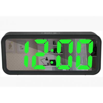 Зеркальные LED часы с будильником и термометром DT-6508 Чёрные (зеленная подсветка)