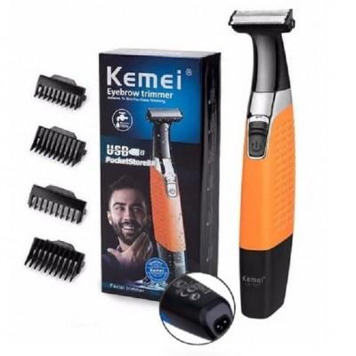 Триммер универсальный для стрижки волос бороды и усов Kemei KM-1910 + 4 насадки от USB Оранжевый