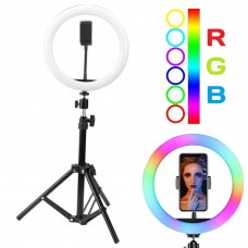 Кольцевая LED RGB лампа 30 см 25 W с держателем для телефона селфи кольцо для блогера СО ШТАТИВОМ