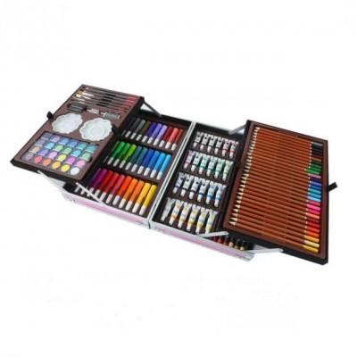 Набор для рисования в алюминиевом чемоданчике 145 предметов Единорог Розовый
