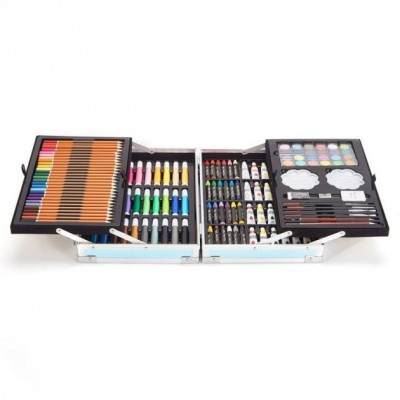 Набор для рисования в алюминиевом чемоданчике 145 предметов Единорог Синий