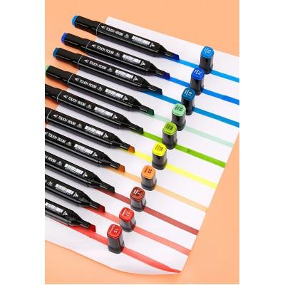 Набор двусторонних маркеров для скетчинга и рисования на спиртовой основе Touch Qiuci 24 шт