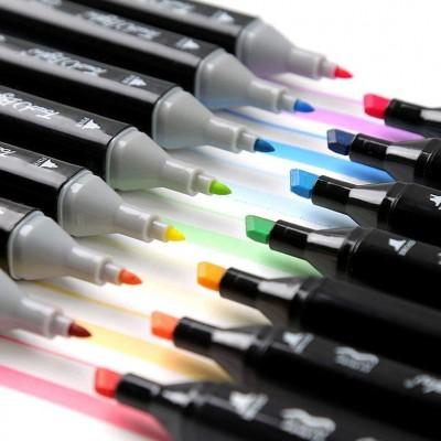Набор двусторонних маркеров для скетчинга и рисования на спиртовой основе Touch Qiuci 36 шт