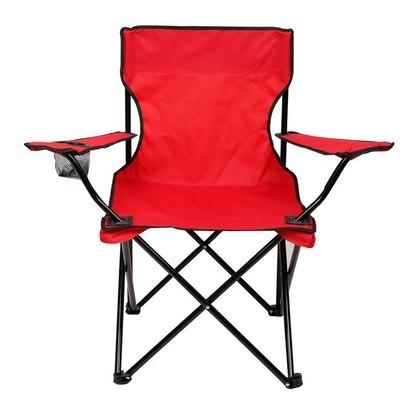 Стул раскладной со спинкой Camping quad chair HX 001 с подстаканником Красный