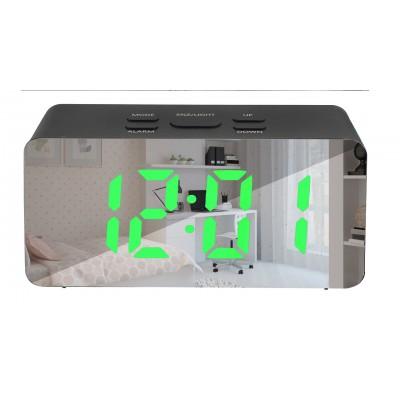 Зеркальные LED часы с будильником и термометром DS-3658L Чёрные (зеленная подсветка)
