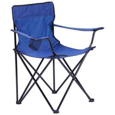 Стул раскладной со спинкой Camping quad chair HX 001 с подстаканником Синий
