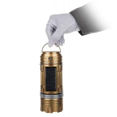 Кемпинговая LED лампа SB 9688 c фонариком и солнечной панелью Золотая