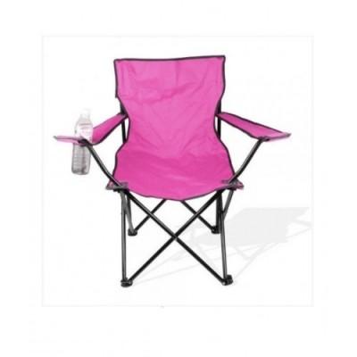 Стул раскладной со спинкой Camping quad chair HX 001 с подстаканником Розовый