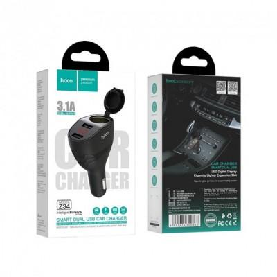Автомобильная зарядка Hoco Z34 3,1А (2 USB) дисплей + разветвитель