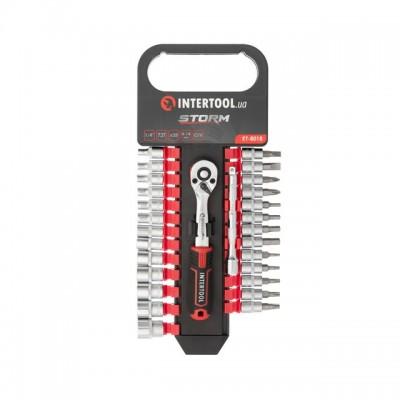 """Набор головок 1/4"""" 4-14 мм., TORX, PH, HEX, SL, удлинитель, рукоятка с храповым механизмом 72 зуба, 28ед., Cr-V STORM INTERTOOL ET-8018"""